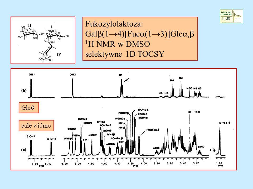 Galb(1→4)[Fuca(1→3)]Glca,b 1H NMR w DMSO selektywne 1D TOCSY